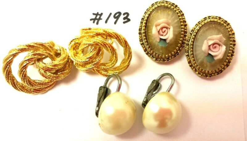 Vintage Jewelry LOT OF 3 Earrings Gold Silver Tone Pink Rose Pearl Clip #193