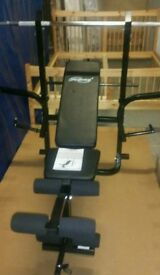A brand new workout bench with weight set and dumbbell set.