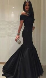 Black Tight Maxi Mermaid Fishtail Prom Dress Size 8 Brand New Lables Intact