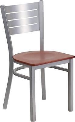 Silver Slat Back Metal Restaurant Chair - Cherry Wood Seat