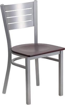 Silver Slat Back Metal Restaurant Chair - Mahogany Wood Seat