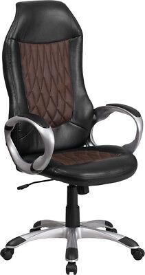 High Back Brown Fabric Black Vinyl Executive Swivel Office Chair - Task Chair