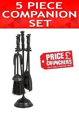Black 5 piece Companion Set Fireside Tools Fireplace Shovel Brush Poker Tongs