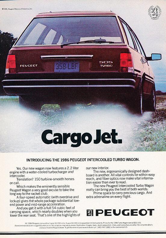 1986 Peugeot 505 Wagon Classic Advertisement Ad P81