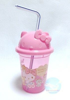 Recommended! SANRIO Hello Kitty KAWAII BENTO Plastic Straw Cup with Lid Resin