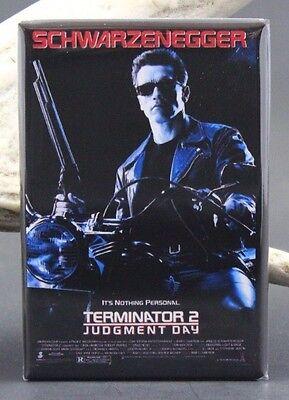 """Terminator 2 Movie Poster 2"""" X 3"""" Fridge / Locker Magnet. Schwarzenegger"""