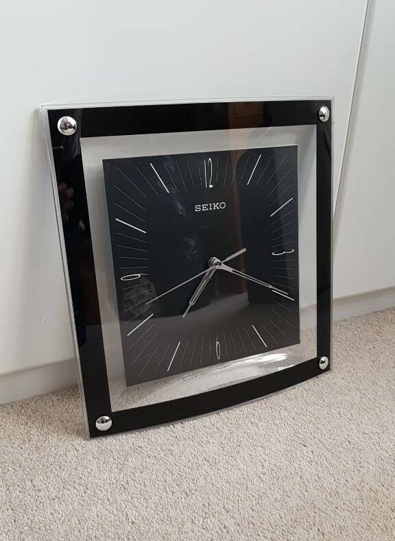 Seiko art deco square curved black wall clock