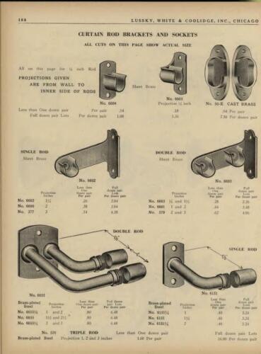 "Lot VTG Brass Pltd Steel Curtain Drapery Rod holder brackets - hardware 3/8""rod"