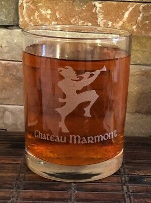 VINTAGE 80s CHATEAU MARMONT HOTEL GIFT SHOP WHISKEY GLASS 12 OZ