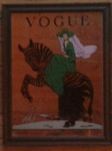"""Vintage vogue wall hanging mirror in wood frame 13.5"""" by 10.5"""""""