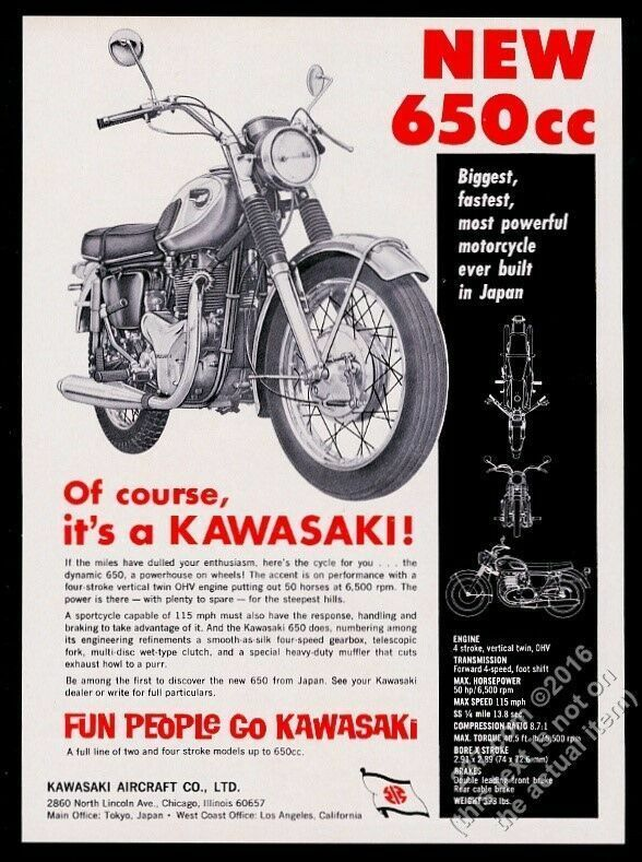 1966 Kawasaki 650 motorcycle photo vintage print ad