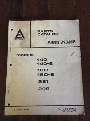 Allis Chalmers 1970 Manure Spreaders 140 180 281 299 Parts Catalog Form 9001358