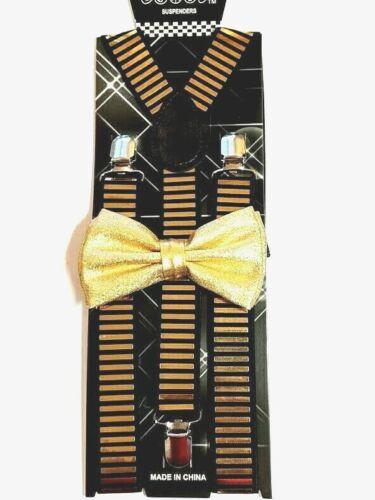 New Luxury Metallic Gold Suspender Bow Tie & Matching Set Tuxedo Wedding