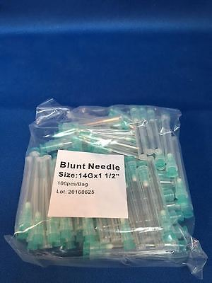 100 Blunt Dispensing Needles Syringe Blunt Tip Needle 14 Ga 1 12 Luer Lock1.5