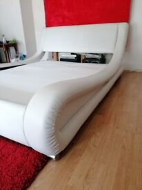 Leather Sleigh Bed Double Off White