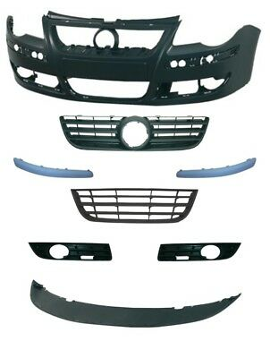 VW Polo 2005-2009 Front Bumper Complete - Primed Mouldings, Fog Type