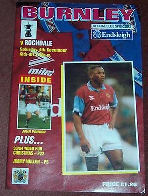 Burnley v Rochdale FA Cup 2nd Round Saturday 4th Dec 1993