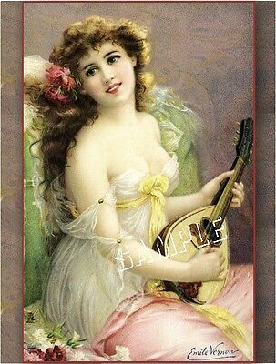 Victorian LADY & LUTE Chic Shabby *CANVAS* Art - LARGE