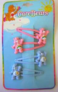 Care Bears 2 Hair Clips Barrettes Pink Rainbow Cheer Blue Bedtime NEW