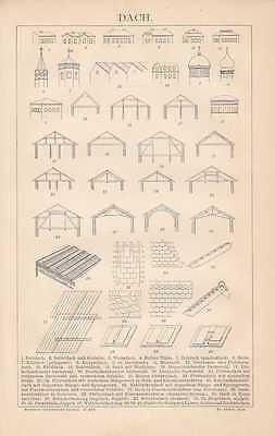 Dach Dachstuhl Dachstühle Dachdecker HOLZSTICH von 1883 Zimmermann