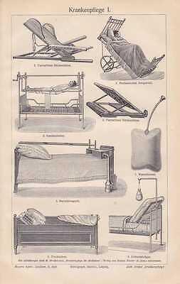 KRANKENPFLEGE Altenpfege Krankenbett Rollstuhl Schnabeltasse HOLZSTICH von 1905