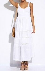 NWT-Size-Large-White-Peasant-Boho-Maxi-Dress-Beach-Sundress-Tiered-Skirt-Cotton