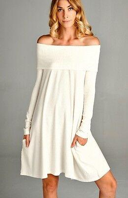 L NECK LOOSE FIT OFF SHOULDER MINI DRESS POCKETS BOHO S M L (Cowl Neck Mini Kleid)