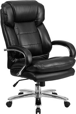 Big Tall Black Leather Executive Office Chair Extra Wide Seat 500 Lbs Capacity