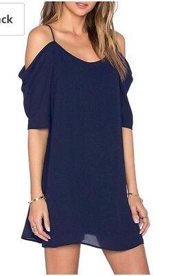 Women's Dress Shoulder Cut Out Strap Short Sleeve Blue Size -