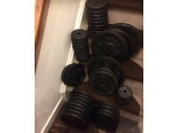 180kg standard cast iron weights plus bars