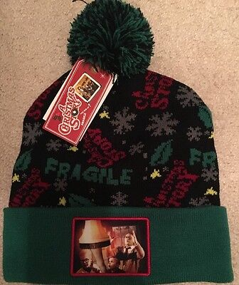 A Christmas Story Hat (A Christmas Story Winter Hat Pom Pom Beanie Fragile Leg Lamp Pic Green New)