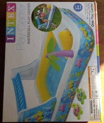New Inflatable Pool  Intex Waterfall Play Center  Waterslide Spray Family Fun !