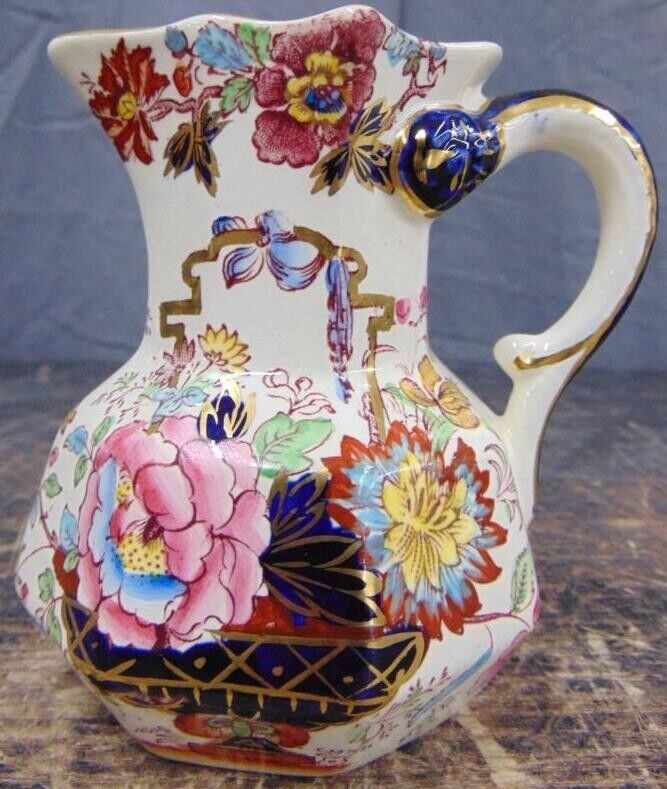 Vintage English Masons Brocade Pottery Pitcher