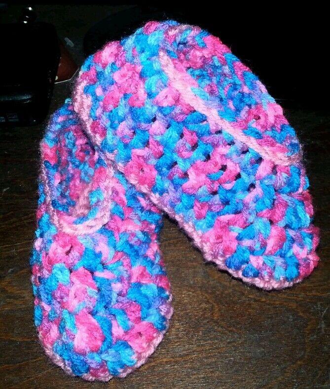 Handmade crochet toddler slippers