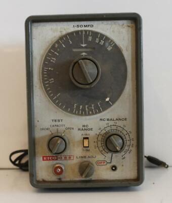 Vintage Eico Model 955 In Circuit Capacitor Checker Meter Tester 1-50 Mfd