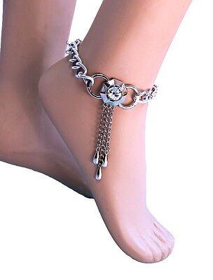 Fußkette Fusskettchen Silber Metall Strass Stiefelkette