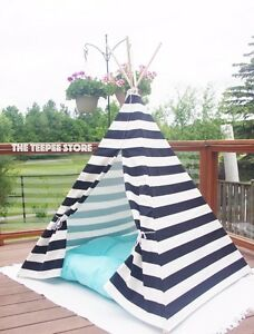 Teepee tipi wigwam play tent. Kids. Black white stripes. Accent