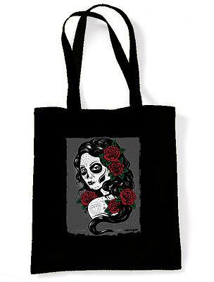 DAY OF THE DEAD TATTOO GIRL  SHOULDER BAG - Día de Muertos Sugar Skull Marigold (Day Of Dead Girl Tattoo)
