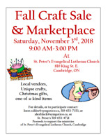 3rd Annual Fall Craft Sale & Marketplace