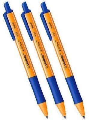 3 x STABILO Druckkugelschreiber pointball, blau,dokumentenecht