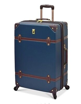 NEW LONDON FOG RETRO EXPANDABLE LIGHTWEIGHT NAVY CHOCOLATE CARRY ON LUGGAGE