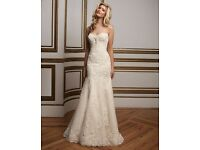 Justin Alexander Wedding Dress Style 8811, size 8-10, ivory and light gold, matching veil available