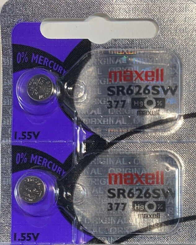 2-Maxell 377 Watch Battery  SR626SW  SR626W V377 Exp. 2024 Authorized Seller.