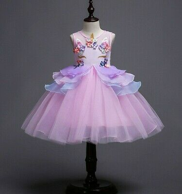 Childrens Girls Princess Unicorn Flower Tulle Tutu Dress Cosplay Costume  ZG9