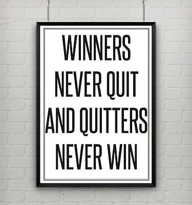 Winners Gym - Motivational gym poster print WINNERS NEVER QUIT AND QUITTERS NEVER WIN