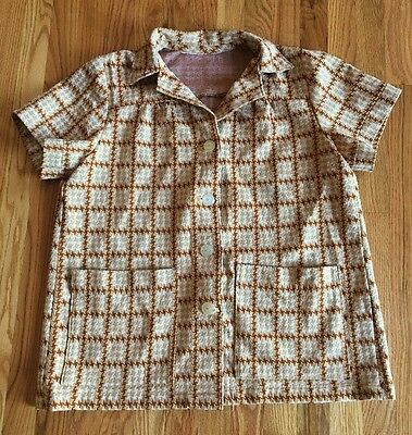 True Vtg 70s Womens DOUBLE KNIT POLYESTER Brown Plaid JACKET Shirt Top