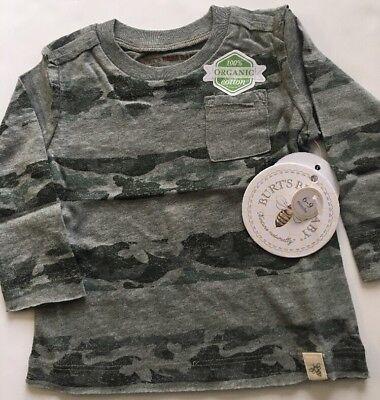 Burts Bees Organic Baby Camo Stripe Pocket Tee Shirt Top Size 6-9 Months Green