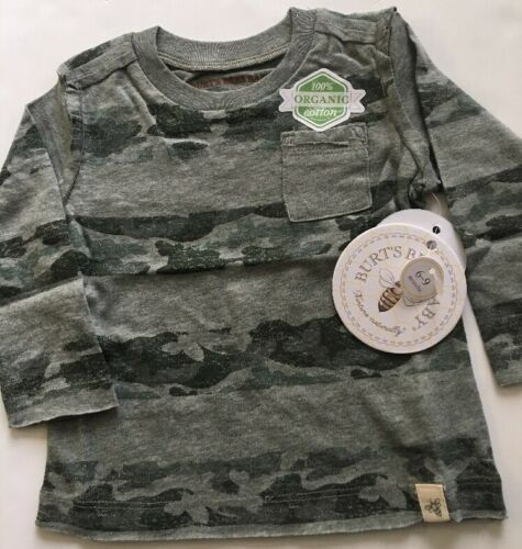 Burts Bees Organic Baby Camo Stripe Pocket Tee Shirt Top Siz