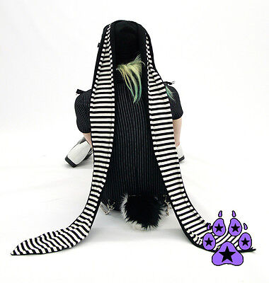 PAWSTAR Super Long Ear Bunny Hat - Striped Stripey Goth Black White [WH]1520