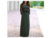 Green Maxi Dress with Long Sleeves, Pockets and Brand New - £10